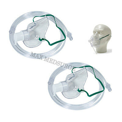 2x Intersurgical Adult Oxygen Masks with 1.8m Tube, Breathing, Respiratory CE