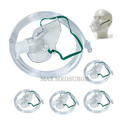 5x Intersurgical Adult Oxygen Masks with 1.8m Tube, Breathing, Respiratory CE