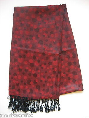 Sangria Red And Black Spotted Shawl Scarf Wrap Kashmir India