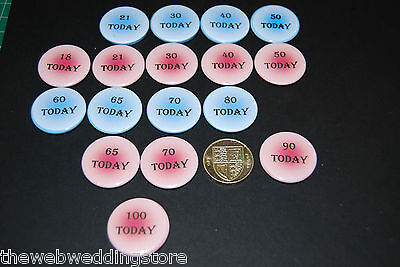 25mm Birthday Badges - Personalised - any age - Pink - Blue - 1-100 - Boy/Girl