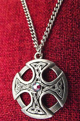 Celtic Cross Pendant Irish Circle Crystal Silver Pewter Chain Necklace