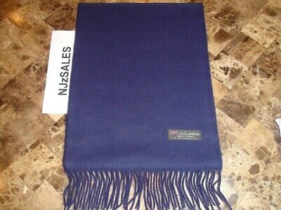 NEW 100% CASHMERE WINTER SCARF SOLID Navy Blue Warm Made in Scotland Wool S49