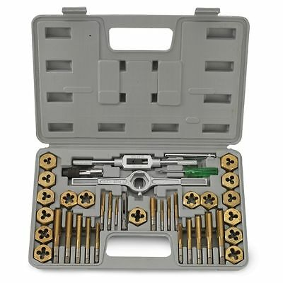 40 Piece Titanium Sae Size Inch Steel Tap & And Die Tool Set Kit