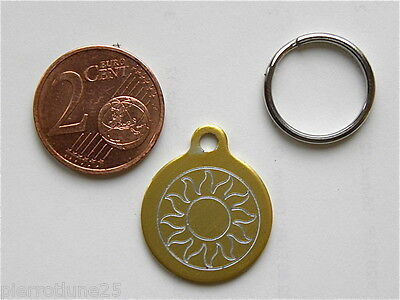 MEDAILLE GRAVEE RONDE soleil CHATON CHAT collier medalla cane katze