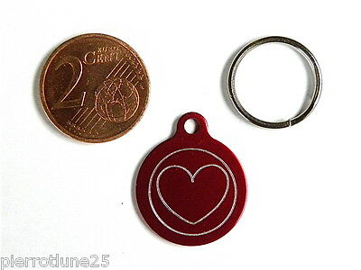 MEDAILLE GRAVEE RONDE COEUR CHATON CHAT collier medalla cane katze