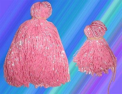 "PINK GLASS BEADED BELLY DANCE FRINGE 40"" x 8"" &  40"" x 4"""