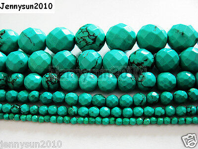 Stabilized Turquoise Gemstone Faceted Round Beads 16'' 2mm 3mm 4mm 6mm 8mm 10mm
