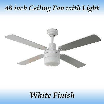 Fias Tash 48 inch - (1200mm) 4 Blade White Ceiling Fan with Light