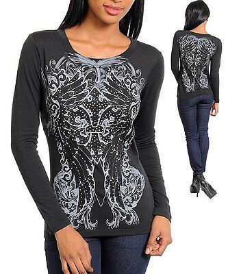 #40P -S,M,L- Black Stretchy Wings Tattoo Print with Rhinestones Top