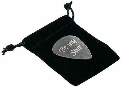 Personalised Stainless Steel .38mm Guitar Plectrum Pick In Gift Pouch Engraved