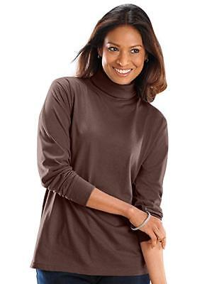 "Ladies Long Sleeve Roll Neck Cotton  Lycra Quality Stretch Tops 6"" Neck(2217)"