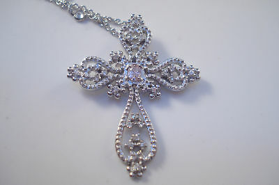 Sterling Silver Cross Necklace Clear CZ Christian Pink Pendant Jewelry Cubic