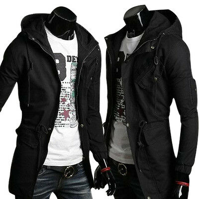 Mens Trench Coat Winter Jacket Hooded Coat Overcoat Windbreaker Outwear Casual