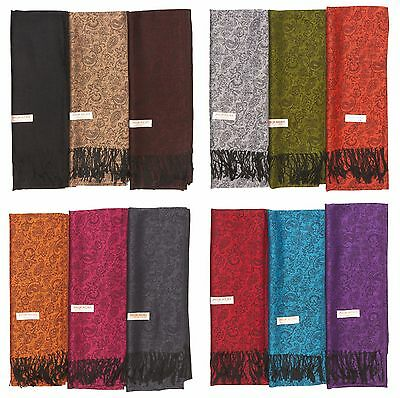 Lot of 12 NEW Soft Silk Women Pashmina Cashmere Shawl scarf Stole Wrap Wholesale