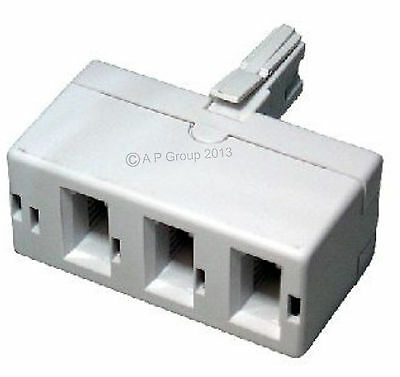 BT Telephone Phone TRIPLE Socket 3 way Adapter T Splitter UK White