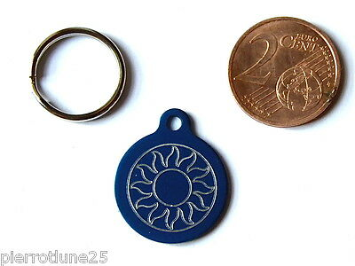 MEDAILLE GRAVEE RONDE BLEU soleil CHATON CHAT collier medalla cane katze