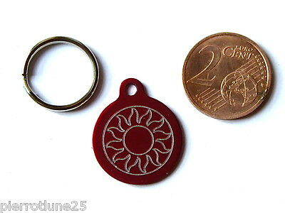 MEDAILLE GRAVEE RONDE ROUGE soleil CHATON CHAT collier medalla cane katze