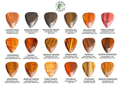 Timber Tones Wood Guitar Pick / Plectrum - Choice Of 18 Different Exotic Woods