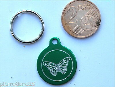 MEDAILLE GRAVEE RONDE VERTE PAPILLON CHATON CHAT collier medalla cane katze