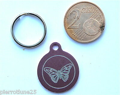 MEDAILLE GRAVEE RONDE ROSE PAPILLON CHATON CHAT collier medalla cane katze