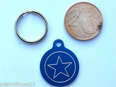 MEDAILLE GRAVEE RONDE BLEU ETOILE STAR CHATON CHAT collier medalla cane katze