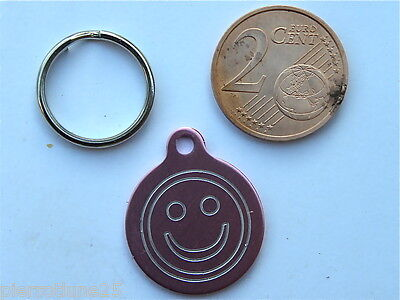 MEDAILLE GRAVEE RONDE SMILEY ROSE CHATON CHAT collier medalla cane hund katze