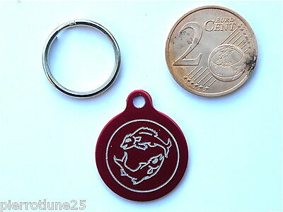 MEDAILLE GRAVEE RONDE ROUGE POISSON CHATON CHAT collier medalla cane katze