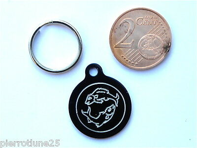 MEDAILLE GRAVEE RONDE NOIRE POISSON CHATON CHAT collier medalla cane katze