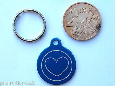 MEDAILLE GRAVEE RONDE COEUR BLEU CHATON CHAT collier medalla cane katze