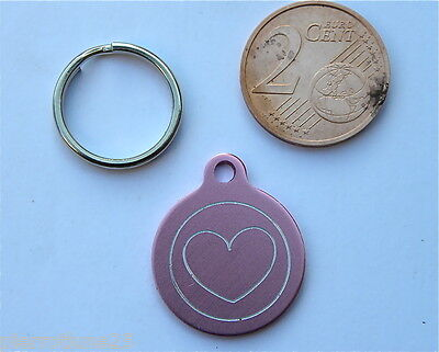 MEDAILLE GRAVEE RONDE COEUR ROSE CHATON CHAT collier medalla cane katze