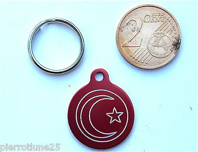 MEDAILLE GRAVEE RONDE ROUGE LUNE ORIENTALE CHATON CHAT collier medalla cane