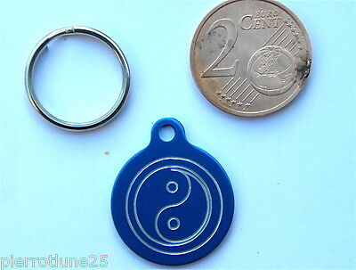 MEDAILLE GRAVEE RONDE BLEU ying yang CHATON CHAT collier medalla cane hund katze