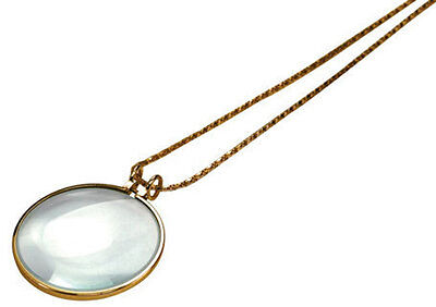 "5X Necklace Magnifier 1-3/4"" Glass Lens 36"" Gold Chain MONOCLE SPECTACLE"