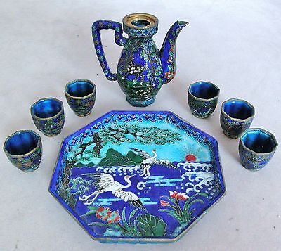 Miniature Chinese Enameled Cloisonne Tea Set with Tancho Cranes & Spotted Deer