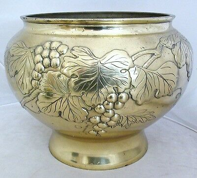 "Big 13"" Vintage Japanese Brass Footed Vase or Jardinaire w/ High Relief Grapes"