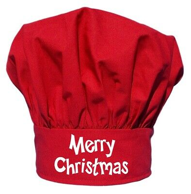 Merry Christmas Red Chef Hat | Red Holiday Toques