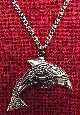 Celtic Dolphin Australia Made Silver Pewter Stainless Steel Chain Necklace