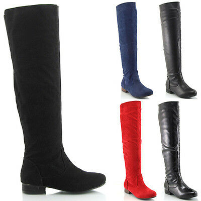 Womens Flat Knee High Ladies Riding Zip Stretch Elastic Winter Boots 3-8
