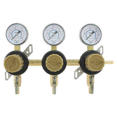 3-Way Secondary Air Regulator - Polycarbonate Bonnet - CO2 to 3 Draft Beer Kegs!