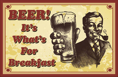 Beer its whats for breakfast sticker 290mm x 190mm bar fridge man cave