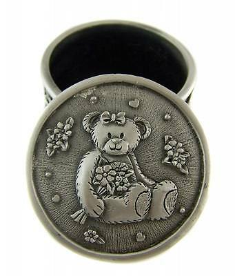 Pewter Baby Girl TEDDY BEAR - KEEPSAKE TRINKET  BOX Decorative Ornament NEW
