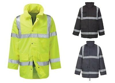 New Mens Ladies Hi Viz Vis Visibility Work Waterproof Padded Hooded Jackets Size
