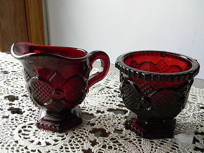 Red Ruby Cape Cod Creamer And Sugar Set - BIN - Next Day Shipping-