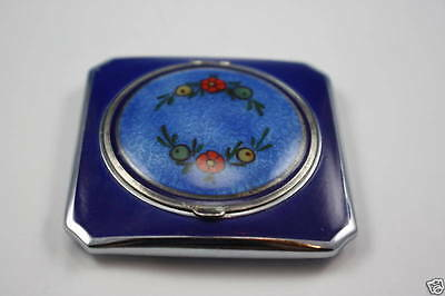 Antique Guilloche Enamel Sterling Silver Compact Box