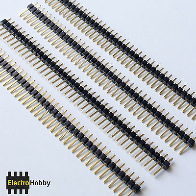 4x Tira 40 Pines Macho 2,54 mm Dorados - Pin header, Row - Electronica, Arduino