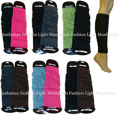 2 PAIRS Kids,Girls/Boys/Ladies Stretchy,Knit Leg Warmers.Pink/Blue,Black/Gray