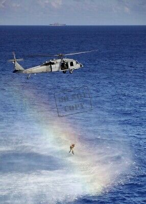 US Navy USN A2 MH-60S Sea Hawk helicopter search & rescue swimmer 8X12 PHOTO