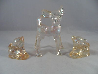 Vintage Acrylic Iridescent - Family of Deers  (Set of 3)  Made In Hong Kong