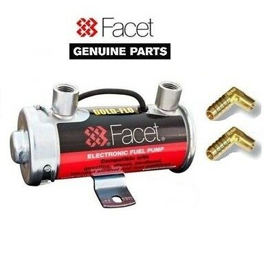 GENUINE FACET RED TOP FUEL PUMP + 90 DEGREE UNIONS (8mm)