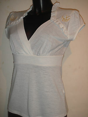 § Mode rock PIN UP FEMME Tee shirt blanc Steady Clothing VINTAGE colombe